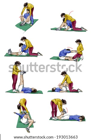 Set of illustrations of a couple doing stretching exercises