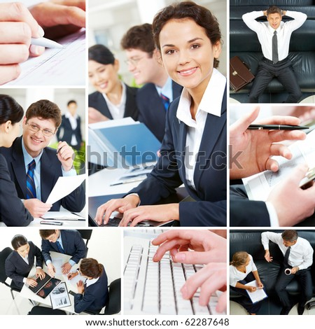 Set of image with business people during work