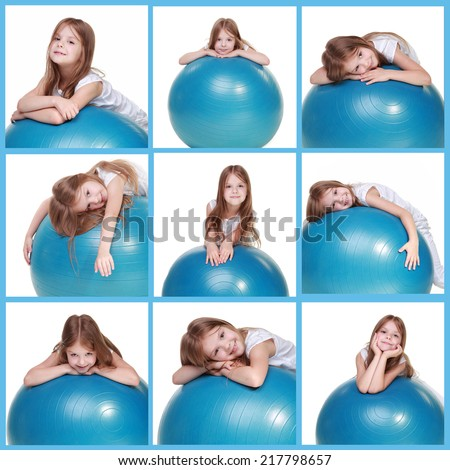set of images of sportive girl on a fit ball jumping isolated on white