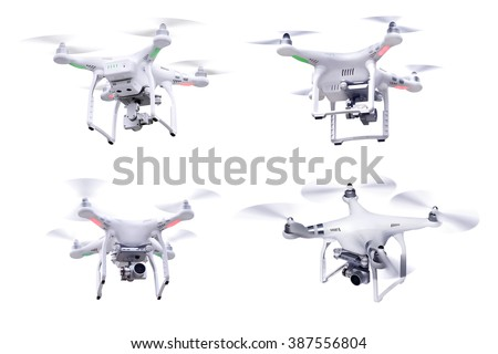 Set of images white little drone isolated over white background - stock photo