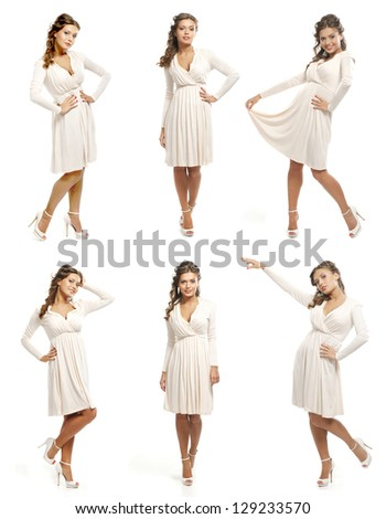 Set of images with the beautiful girl isolated on white - stock photo