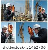 set of images. worker surveyor measuring distances, elevations and directions on construction site by theodolite level transit equipment - stock photo