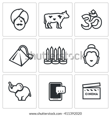Set of India Icons. Hindu, Sacred Animal, Aum, Tea, Yoga, Krishna, Elephant, Electronic, Bollywood. Man, Cow, Religion, Tea bag, Nails, Idol, Animal, Telephone, Cinema - stock photo