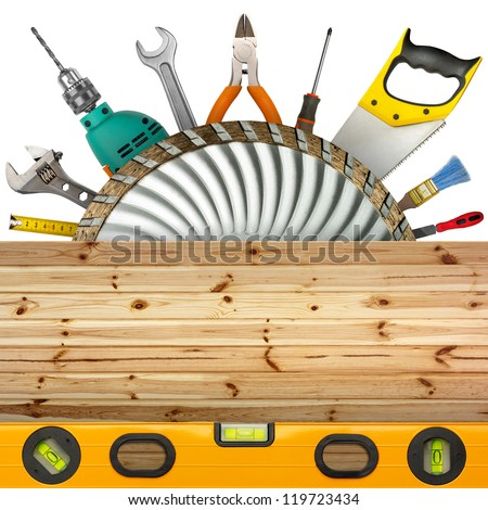 Set of industrial tools. Isolated on white - stock photo
