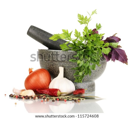 Set of ingredients and spice for cooking isolated on white - stock photo