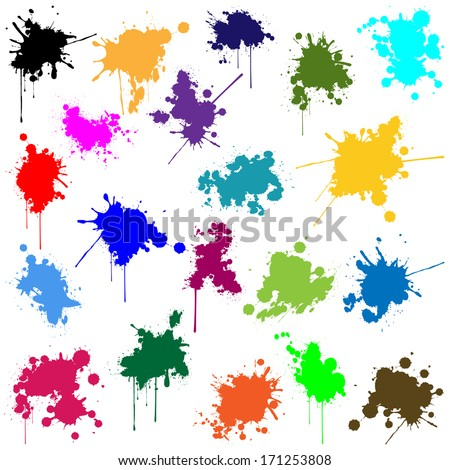 Set of ink in different colors - stock photo
