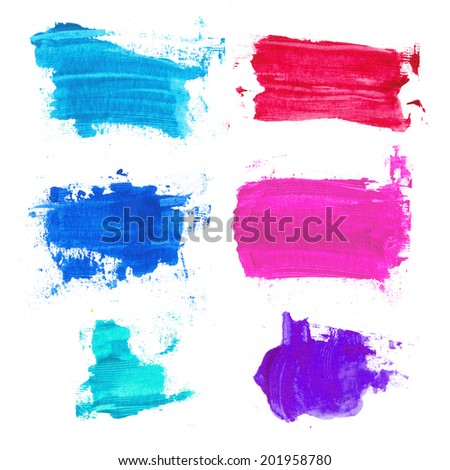 Set of ink spots on a white background, design elements, color