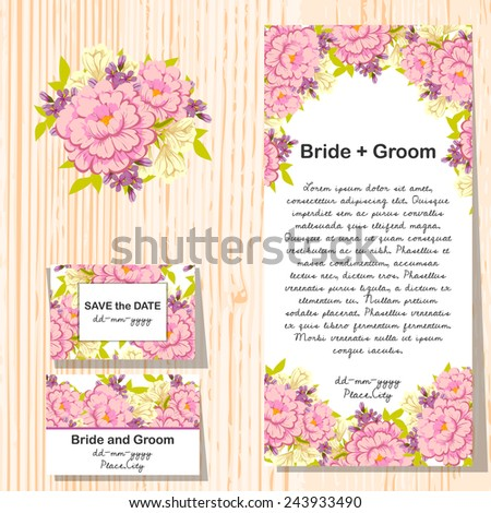 Set of invitations with floral background - stock photo