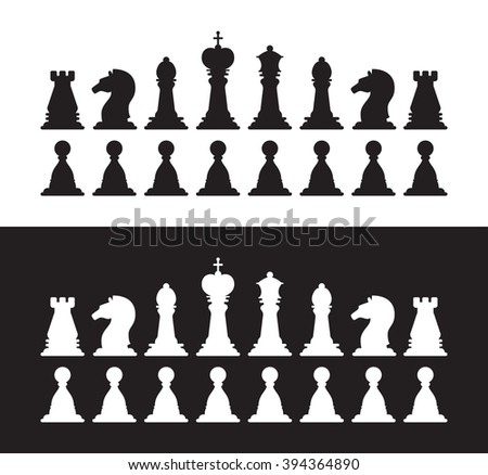 Set of isolated black and white chess silhouettes. Collection of the king, queen, bishop, knight, rook, and pawn