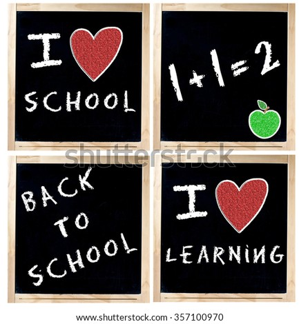Set of isolated blackboards in wood frame and handwritten with white chalk with messages concerning school - stock photo