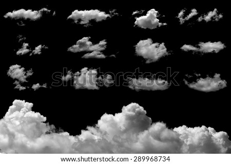 Set of isolated clouds on black background. - stock photo
