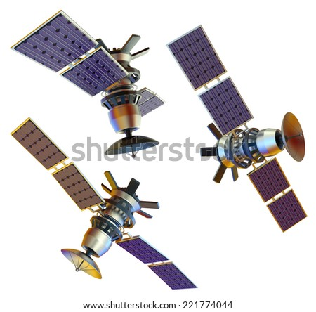 Set of isolated 3d models of an artificial satellite from different angles. Standalone space station in Earth orbit. Supervisory research spy probe. Data from space. Starship. - stock photo