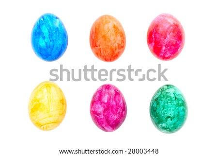 set of isolated easter eggs - stock photo