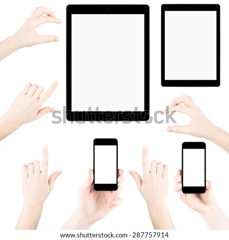 Set of isolated elemets from hands, fingers, tablets pc and phones with blank screen - stock photo