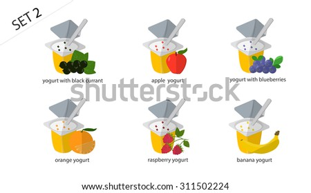 Set of isolated fruit and berry yogurt: apricot yogurt, cherry yogurt, strawberry yogurt, pineapple yogurt, pear, yogurt, yogurt with raisins. Set of 6 yogurt - stock photo