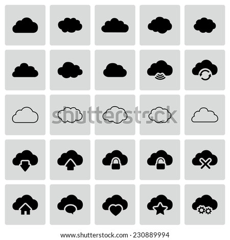 Set of isolated modern cloud icons - stock photo