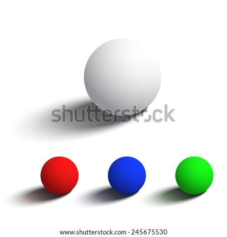 Set of isolated realistic 3D spheres in different colors. Objects on white background for your design.