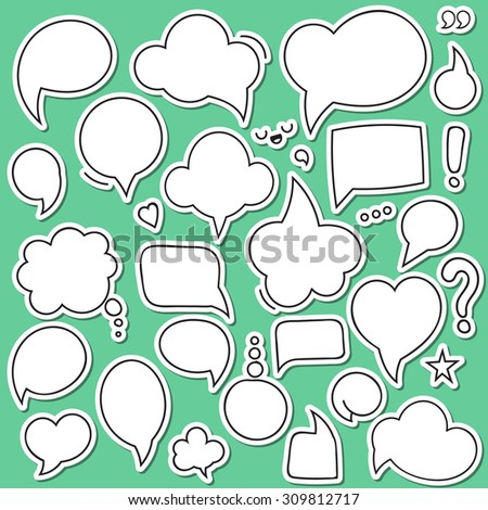 Set of isolated sticker bubbles dialogues.