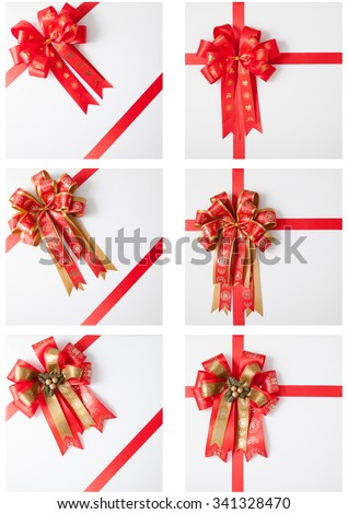 Set of isolated variety gift bow and red ribbon on white background