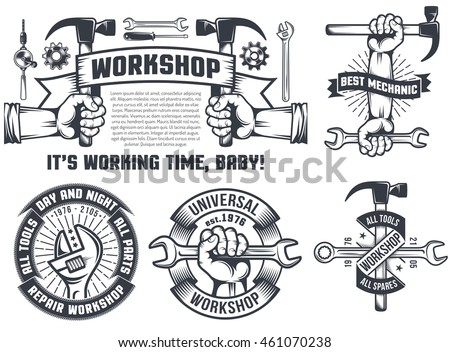 Mechanic tools on car parts clip art