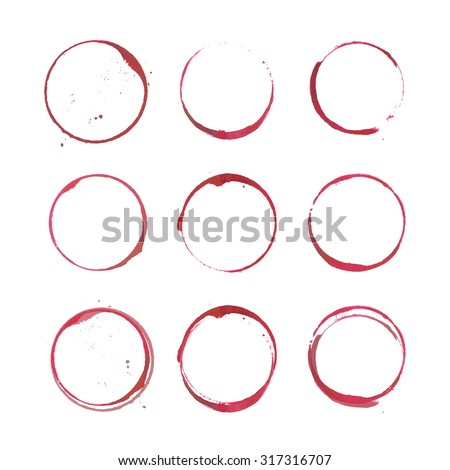 Set of isolated wine stain circles. Red wine stains and spots. Wine bottom glass ring stains for badge design. Watercolor hand drawn glass marks of wine stain on white. Red wine stains on paper