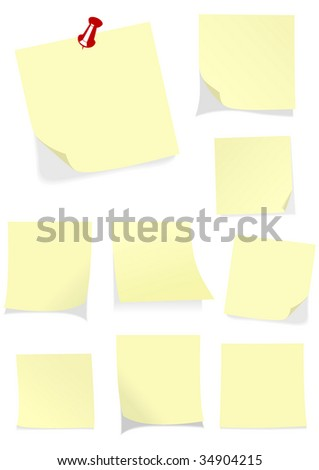 Set of isolated yellow notes