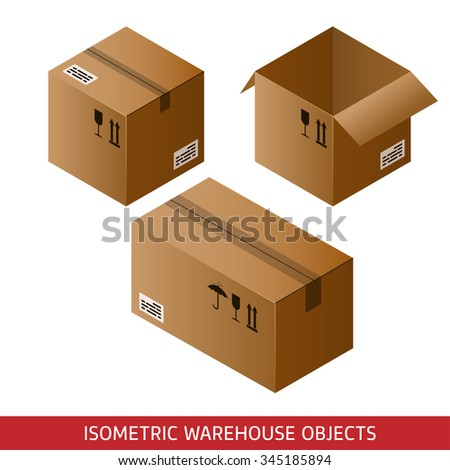 Set of isometric cardboard boxes isolated on white background. 3D warehouse objects - stock photo