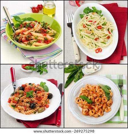 Set of Italian tortellini pasta tomato sauce, fusilli tomato olives and oregano, vegetarian spaghetti chili garlic parsley and Parmesan cheese, Penne pasta salad  sun dried tomatoes capers basil - stock photo