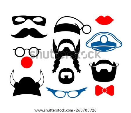 Set of items for party or masquerade. False mustache, funny glasses, mask and helmet - stock photo