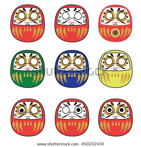 Set of japanese new year daruma dolls. Traditional daruma dolls in different colors collection. illustration - stock photo