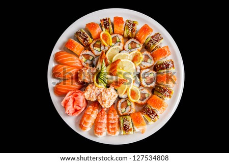 set of Japanese sushi on a white plate - stock photo