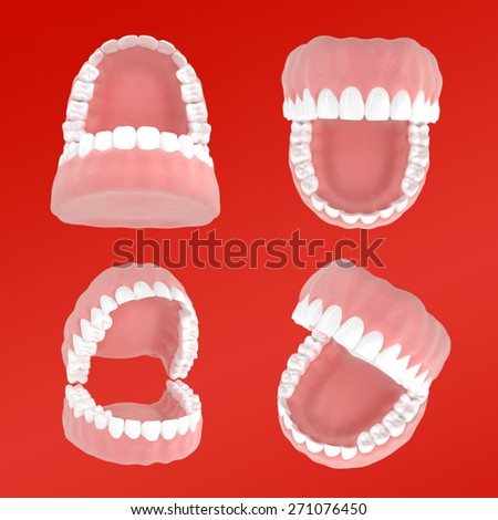 Set of jaws from different angles . Dental 3D illustrations on a red background - stock photo