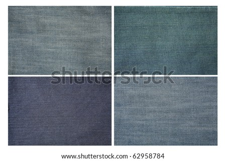 Set of jeans cloth texture - stock photo