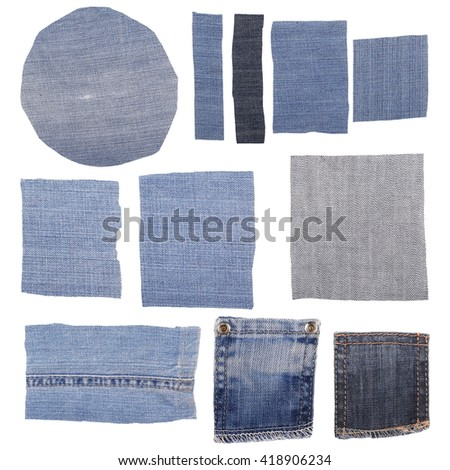 Set of jeans fabric isolated on white background - stock photo
