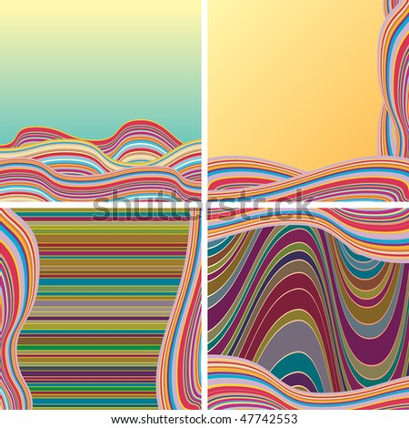 Set of joyful retro styled abstract backgrounds (vector id=47574367 ) - stock photo