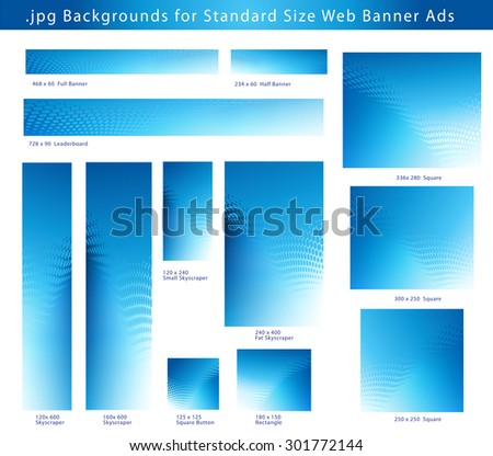 Set of .jpg Creative Blue Dot Swirl Abstract Backgrounds for Standard Size Web Banner Ads  - stock photo
