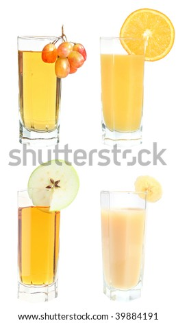 Set of juices on a white background.