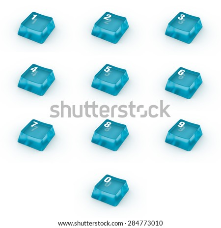 Set of keyboard buttons with numbers - stock photo