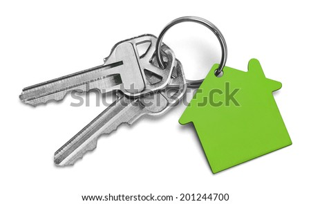 Set of Keys With Green House Isolated on White Background. - stock photo