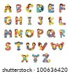 Set of kid alphabet characters - EPS VECTOR format also available in my portfolio. - stock photo