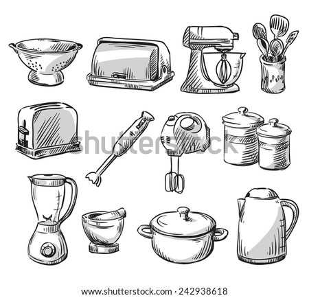 Set of kitchen appliance. Household utensils. hand drawn. - stock photo