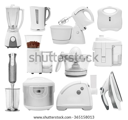 Set of kitchen appliances, devices, equipment (blender, grinder, mill, multi cooker, crock-pot, disassembled, mincer, hasher, chopper, extractor, squeezer, mixer, iron)  isolated on white
