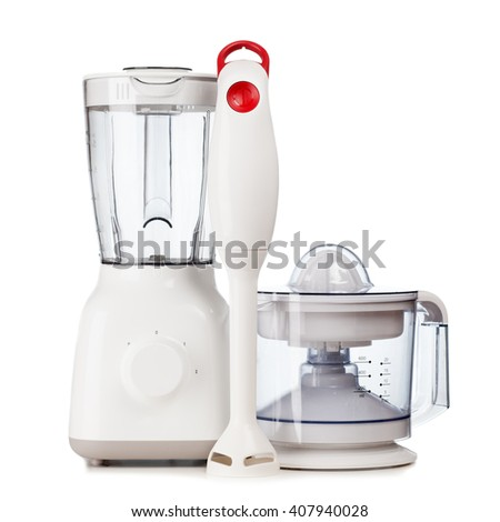 Set of kitchen appliances isolated on white background