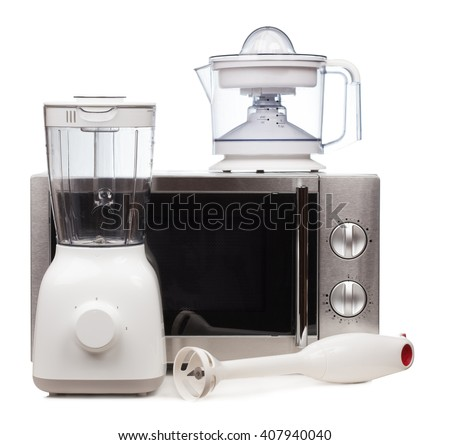 Set of kitchen appliances isolated on white background - stock photo