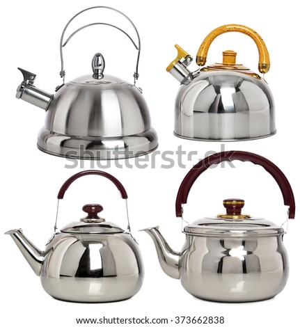 Set of kitchen Metal pots with colored pens. Four kettle - stock photo
