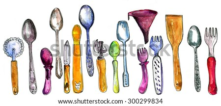 set of kitchen utensils drawing by watercolor and ink, hand drawn  illustration, artistic painting background - stock photo