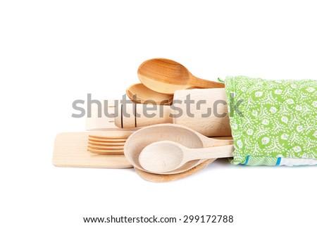 Set of kitchen utensils isolated on white background. - stock photo