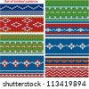Set of 9 knitted ornamental seamless patterns. Raster version - stock photo