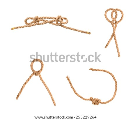Set of knot rope jutes isolated white
