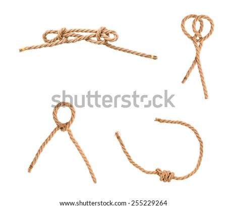 Set of knot rope jutes isolated white - stock photo